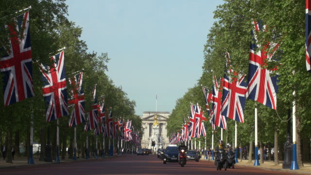 The Mall with ceremonial Union Jacks
