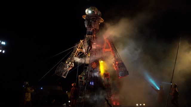 the man engine, the largest mechanical puppet ever constructed in the uk, is unveiled during a final dress rehearsal of the 'afterdarker' ceremony... - tin mine stock videos & royalty-free footage