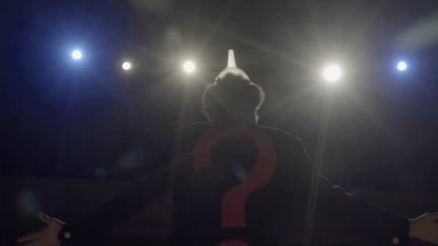 the man with question mark jacket on the theater - comedian stock videos & royalty-free footage