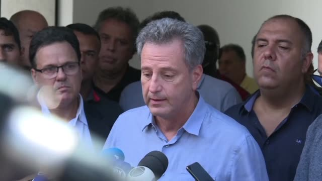 the manager of brazil's most popular club flamengo addresses the media in front of the club's entrance after 10 people died when a fire ripped... - youth club stock videos & royalty-free footage