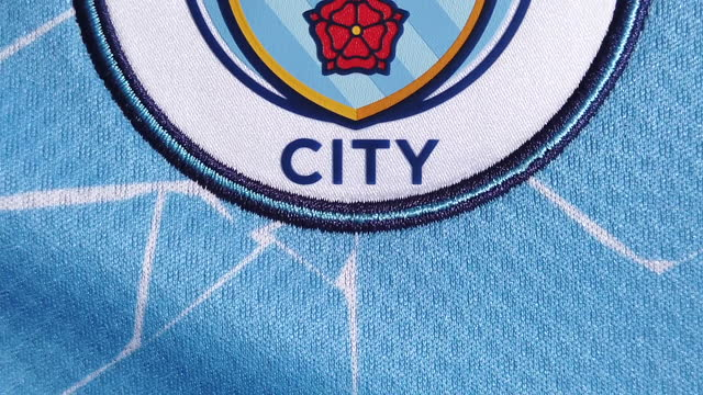 the manchester city home shirt displaying the club badge on june 08, 2021 in manchester, united kingdom. - shirt stock videos & royalty-free footage