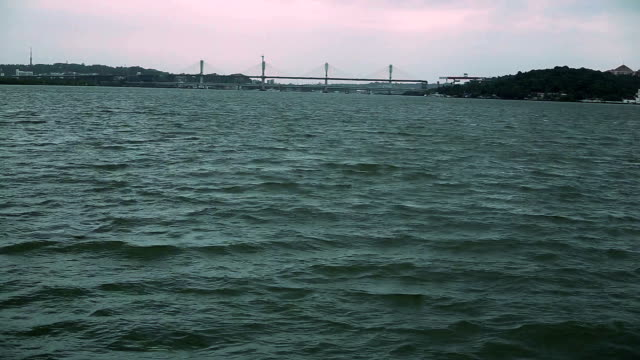 the mandovi bridge in panjim, goa - cable stayed bridge stock videos & royalty-free footage