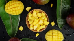 The mango pieces on a plate to slowly rotate.