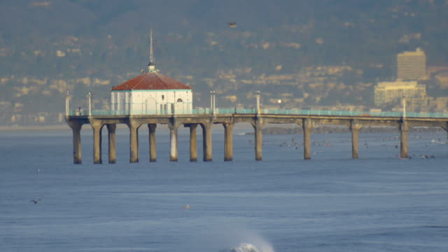 the manhattan beach pier stands majestic over the pacific ocean. - majestic stock videos & royalty-free footage