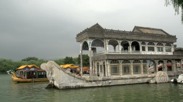the marble boat in the summer palace park - summer palace beijing stock videos & royalty-free footage