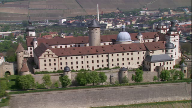 The Marienberg Fortress Festung Marienburg and Residenz occupies a hilltop above the city of Wurzburg, Bavaria, Germany.
