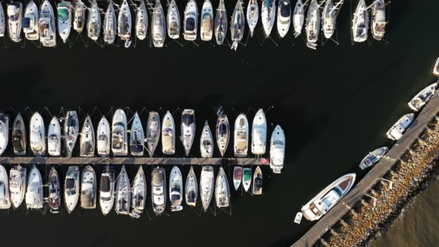 the marina, well frequented by boats, stands during the novel coronavirus crisis on august 13, 2020 in groemitz, germany. the marina was closed in... - marina stock videos & royalty-free footage