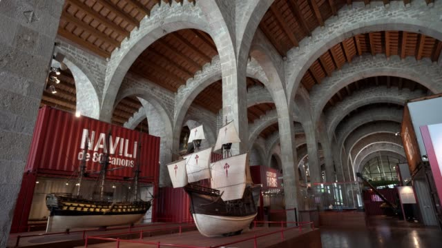 the maritim museum's permanent exhibition is on display on june 30, 2020 in barcelona, spain. the maritim museum reopened on june 22nd to the public,... - ship stock videos & royalty-free footage