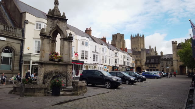 the market place in wells somerset england. - parking stock videos & royalty-free footage