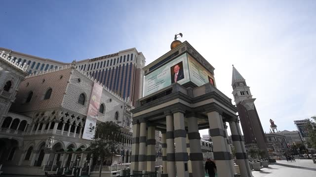the marquee and signs at the venetian las vegas display a tribute to las vegas sands corp. chairman and ceo sheldon adelson on january 12, 2021 in... - the palazzo las vegas stock videos & royalty-free footage