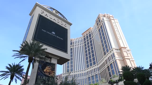 the marquee at the palazzo las vegas displays a tribute to las vegas sands corp. chairman and ceo sheldon adelson on january 12, 2021 in las vegas,... - the palazzo las vegas stock videos & royalty-free footage