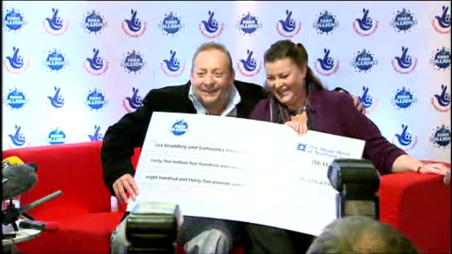the married couple who won £45.5m on euromillions have been talking about the moment they realised they had become rich beyond their wildest dreams.... - 宝くじ点の映像素材/bロール