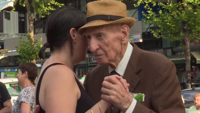 the masters of the dance floor in montevideo are not your usual reggaeton-grooving youngsters but rather a group of elderly tango dancers - uruguay stock videos & royalty-free footage