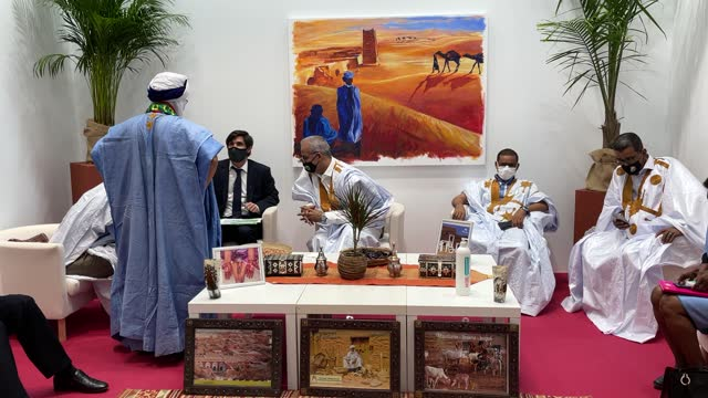 the mauritania stand during the fitur tourism fair opening at ifema on may 19, 2021 in madrid, spain. fitur 2021 will be deployed in seven pavilions,... - mauritania stock videos & royalty-free footage