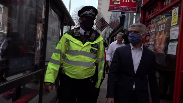 the mayor of london, sadiq khan and the shadow home secretary, nick thomas-symonds, join metropolitan police officers for a walkabout and ilford on... - ilford stock videos & royalty-free footage
