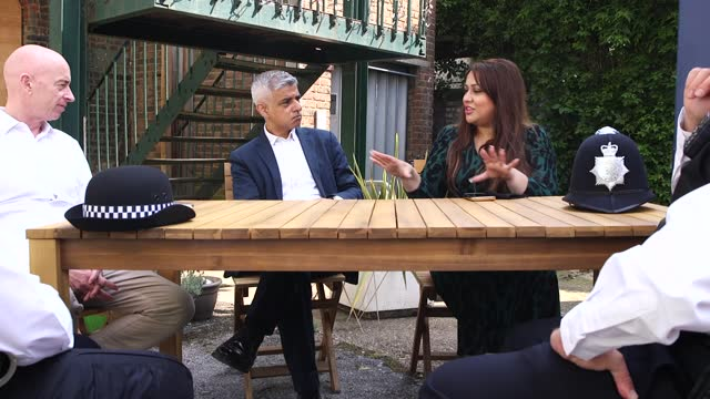 the mayor of london sadiq khan performs a walkaround in kentish town, north london, with police officers from the local command unit, as the... - kentish town stock videos & royalty-free footage