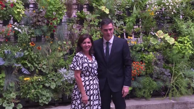 the mayor of paris anne hidalgo welcomes the head of the spanish government pedro sanchez to paris hotel de ville where they address the european... - hotel de ville paris stock videos & royalty-free footage