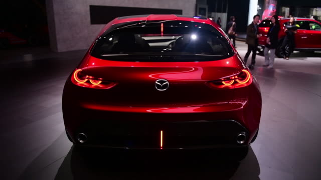 the mazda motor corp kai concept vehicle seen during the 2018 new york international auto show in new york us on thursday march 29 2018 - tail light stock videos & royalty-free footage