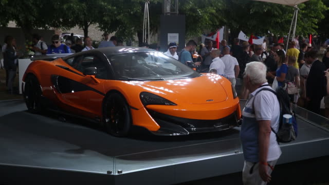 the mclaren 600lt supercar manufactured by mclaren automotive ltd launch at the goodwood festival of speed near chichester uk on thursday july 12 2018 - motor show stock videos and b-roll footage