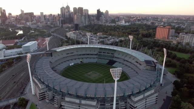 vídeos y material grabado en eventos de stock de the melbourne cricket ground at sunset, mcg melbourne. - david ewing
