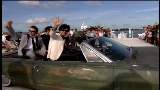 the members of green day arriving to the red carpet in a vintage car - 2005 stock videos & royalty-free footage