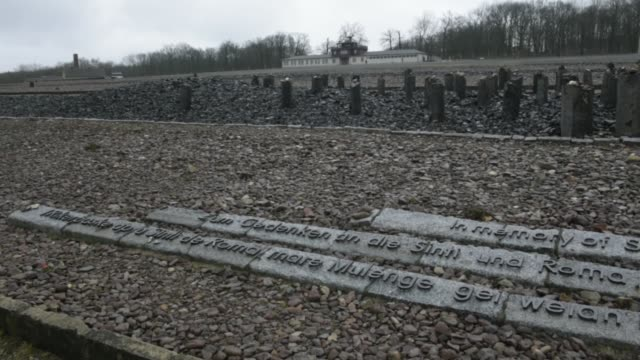 the memorial for the killed sinti and roma is displayed at the buchenwald concentration camp on january 26 2018 near weimar germany tomorrow january... - weimar video stock e b–roll