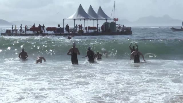 The men's test event for marathon swimming ahead of the 2016 Olympics took place in Rio de Janeiro Sunday