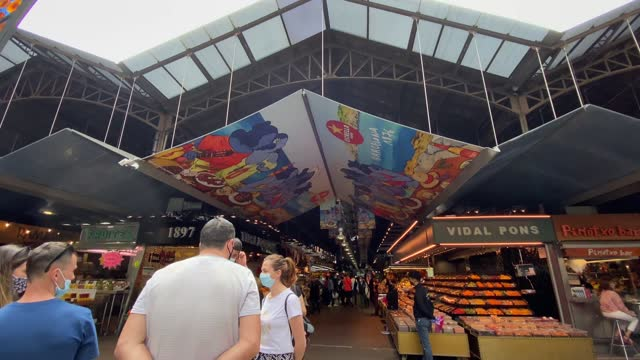 the mercat de sant josep de la boqueria, spanish:  large public market in the ciutat vella district of barcelona, catalonia, spain, and one of the city's foremost tourist - mediterranean culture stock videos & royalty-free footage