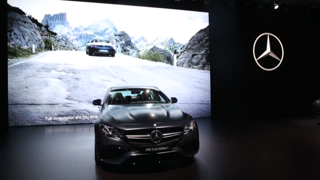 the mercedesbenz ag amg e 63 s edition 1 sedan and maybach s 650 cabriolet convertible vehicle are displayed during automobility la ahead of the los... - motor show stock videos and b-roll footage