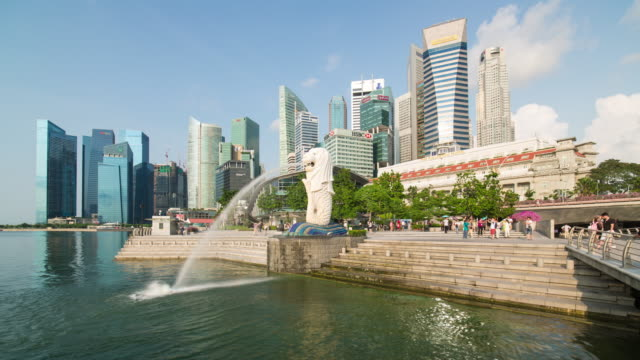 the merlion statue with the city skyline in the background, marina bay, singapore, south east asia - day stock videos & royalty-free footage
