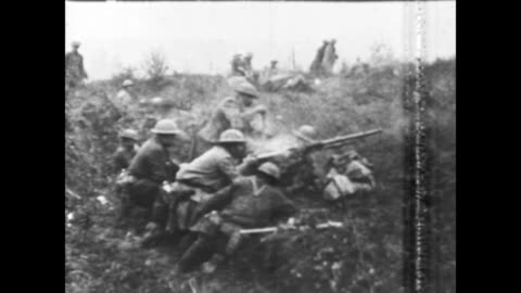 the meuse argonne offensive / trucks, horse drawn carts and troops move along a road / troops wait in trenches / machine guns and artillery pieces... - world war one stock videos & royalty-free footage