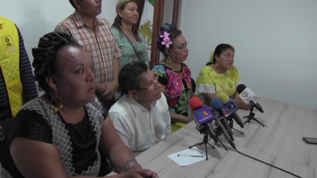 the mexican leftist democratic revolution party announces it has registered two trans women known as muxes in municipal elections - prd stock-videos und b-roll-filmmaterial