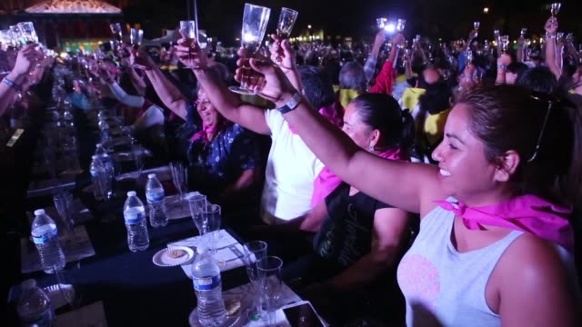 stockvideo's en b-roll-footage met the mexican state of jalisco birthplace of tequila earns a place in the guinness book of records for the largest tasting of this drink in the world... - geboren in
