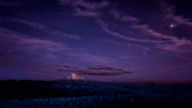 the milky way rises over mt hood oregon - mt hood stock videos & royalty-free footage