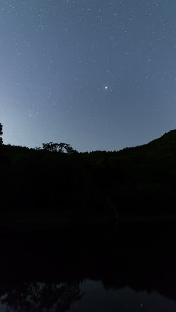 stockvideo's en b-roll-footage met the milky way turning in the night sky over a pond in the mountains - astrologie