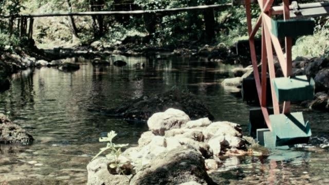 De molen-wiel draait onder een stroom van water