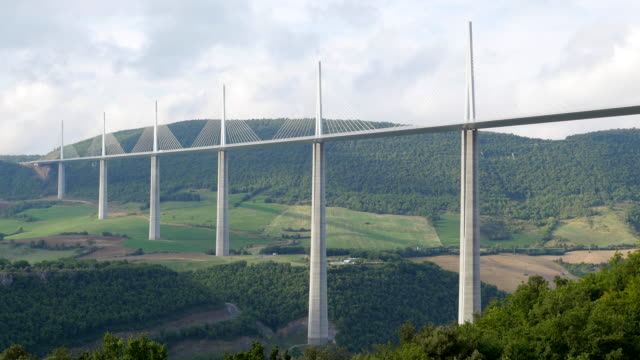 the millau viaduct, millau-creissels, france - viaduct stock videos & royalty-free footage