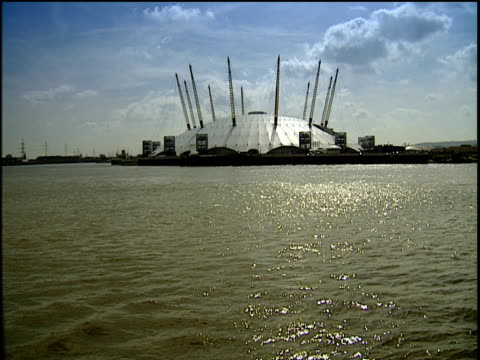The Millennium Dome from the river Thames London.