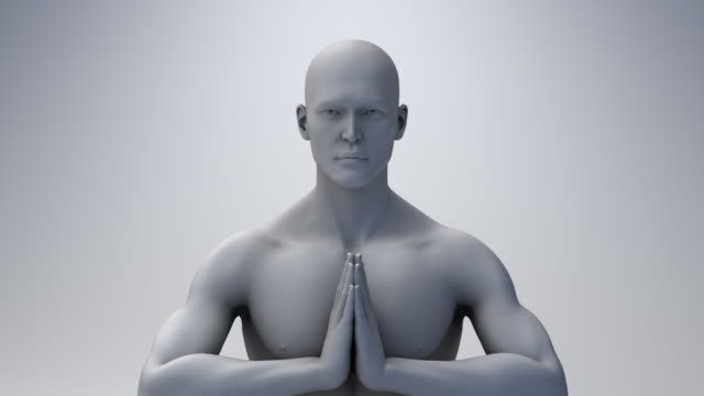 the minds eye 1001: a computer generated man meditating. - new age stock videos & royalty-free footage