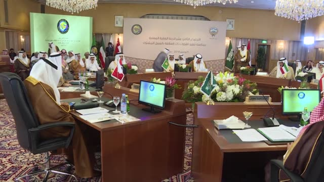 the ministerial committee responsible for implementing the decisions of the gcc meets in kuwait with kuwait's deputy foreign minister khaled... - persian gulf countries stock videos & royalty-free footage