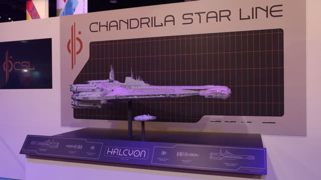 The model of the Halcyon ship from Star Wars Galactic Starcruiser a multiday experience at Walt Disney World is displayed during a media preview of...