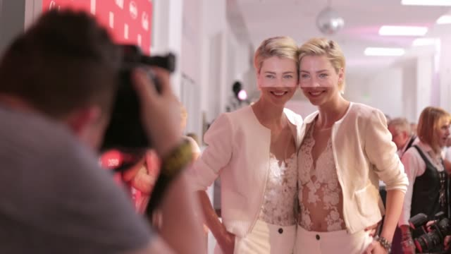 the model twins julia meise and nina meise attend the 'gala' fashion brunch during the mercedes-benz fashion week berlin spring/summer 2017 at... - ニナ・マイゼ点の映像素材/bロール