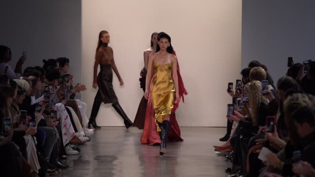 the models walk the runway for alejandra alonso rojas fashion show at gallery ii at spring studios on february 12, 2020 in new york city. - ニューヨークファッションウィーク点の映像素材/bロール