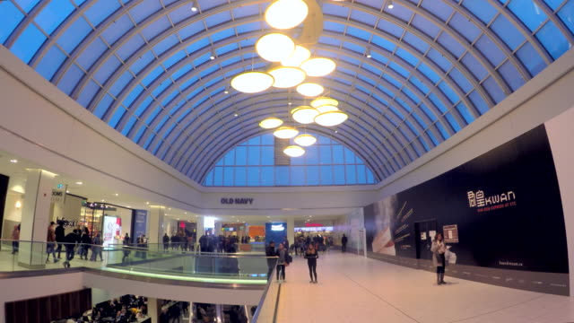 The modern architecture of the large shopping mall favors the use of natural light by having many beautiful in design skylights