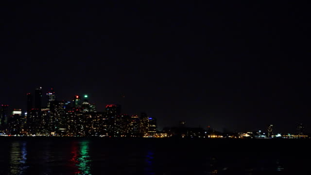 the modern toronto skyline during the night - cn tower stock videos & royalty-free footage