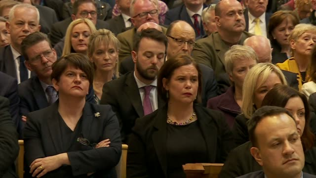 """the moment during lyra mckee's funeral when father martin magill questions why it """"took the death of a 29-year old woman with her whole life in front... - 演説者点の映像素材/bロール"""