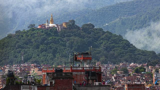 the monkey temple kathmandu nepal. - tradition stock videos & royalty-free footage