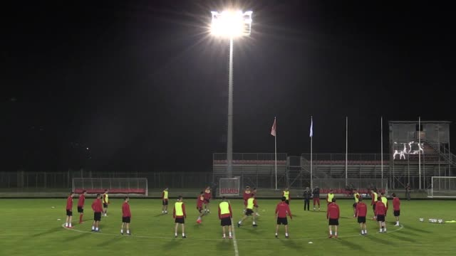 The Montenegro national team train ahead of their Euro 2020 qualifier game against England on March 25