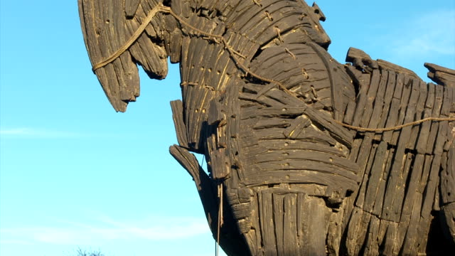 The monument of wooden trojan horse in the city center of Canakkale.