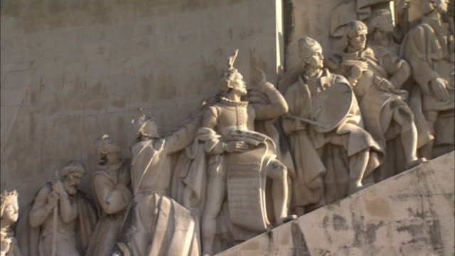 the monument to the discoveries in lisbon, portugal - monument stock videos & royalty-free footage